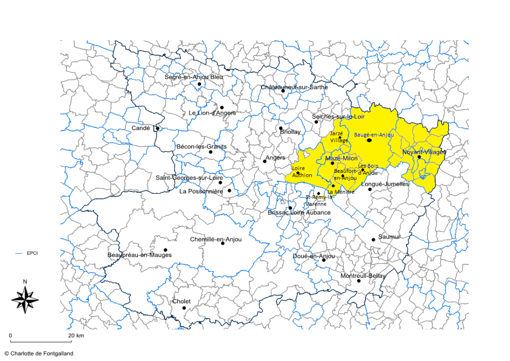 Carte envisagée territoire de la CPTS Nord Est Anjou